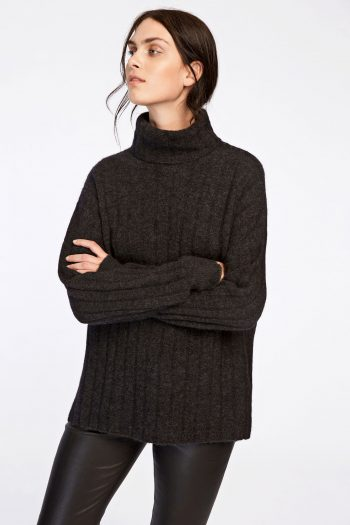 samsøe samsøe nor turtle neck black melange