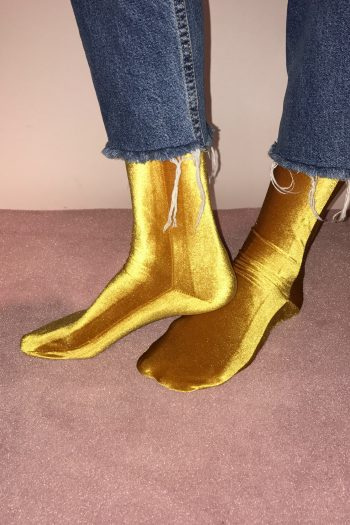 simone wild velvet socks mustard yellow
