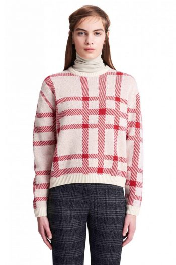 Wood Wood Caitlin Sweater red off white check