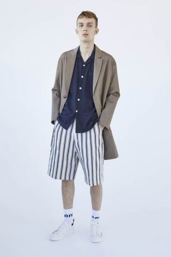 mfpen Basquet Shorts in navy / ecru stripes