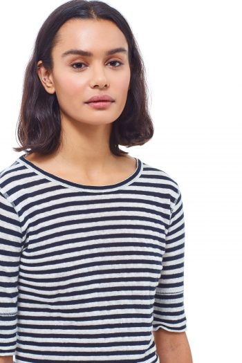 YMC Charlotte Tee in navy ecru stripes